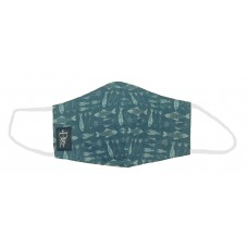 Fish Teal Printed Cotton Face Mask With Nose Wire