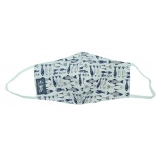 Fish White Printed Cotton Face Mask With Nose Wire