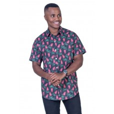 Grevillea Black Shirt - Ozzie Men's Short Sleeve Shirt