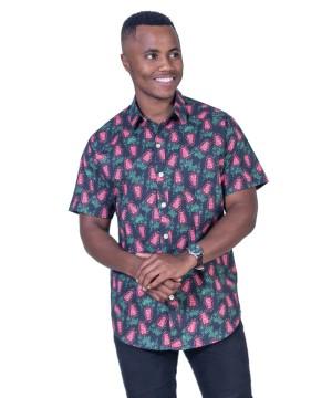 Grevillea Black Shirt - Ozzie Men's Short Sleeve Shirt