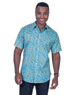 Wattle Turquoise Shirt - Ozzie Men's Short Sleeve Shirt