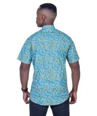 Wattle Turquoise Shirt - Ozzie Men's Short Sleeve Shirt