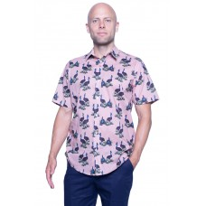 Cassowary Pink Shirt - Ozzie Men's Short Sleeve Shirt