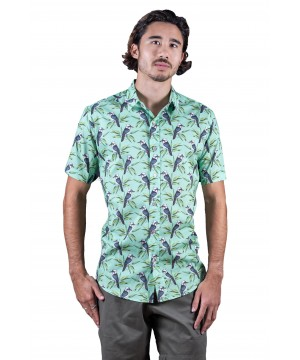 Kookaburra Mint Green Shirt - Ozzie Men's Short Sleeve Shirt