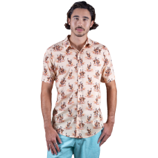 Emu Dusty Pink Shirt - Ozzie Men's Short Sleeve Shirt