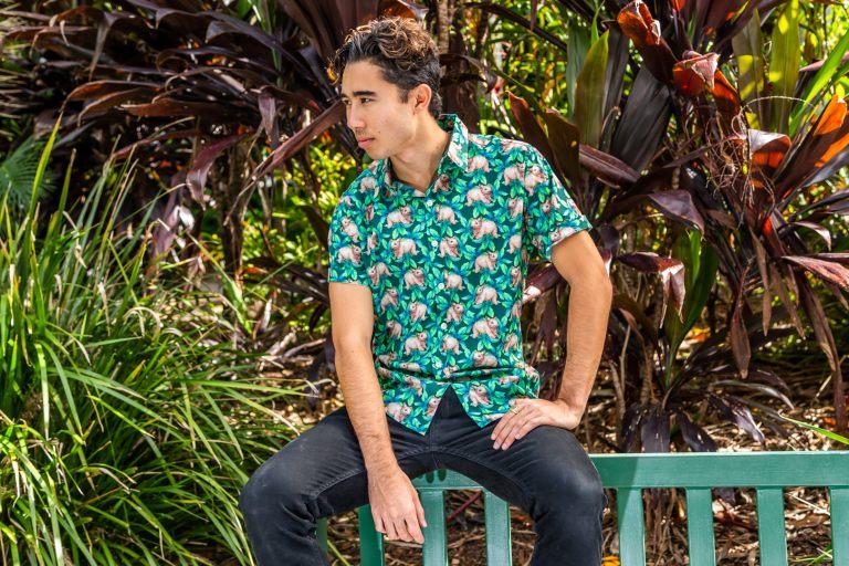 Wombat Green DOM N 8 DESIGN Ozzie Summer Shirt, Cotton Short Sleeve Shirt, Wombat Shirt