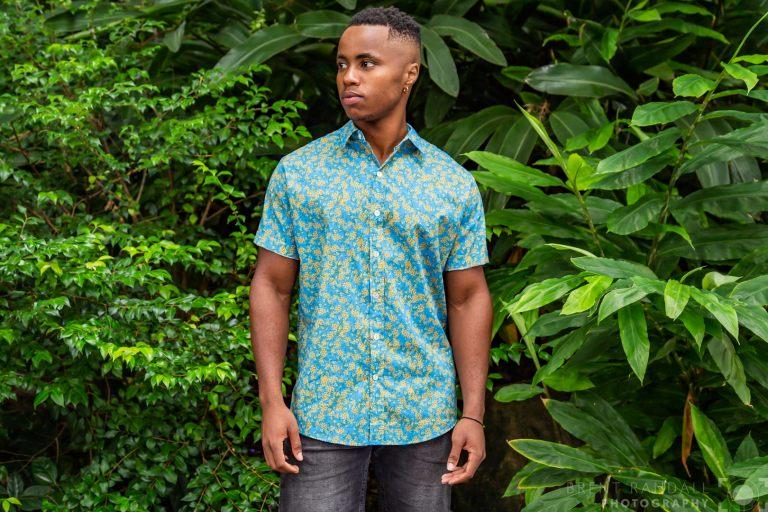 Wattle Turquoise DOM N 8 DESIGN Ozzie Summer Shirt, Cotton Short Sleeve Shirt, Wattle Shirt
