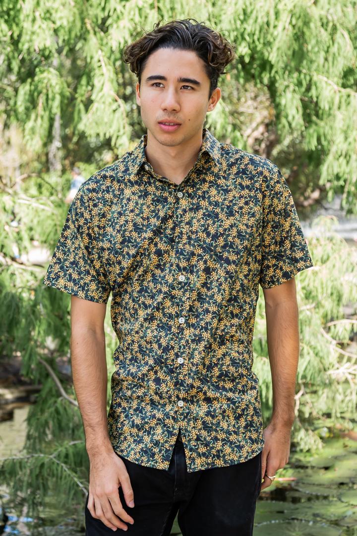 Black Wattle DOM N 8 DESIGN Ozzie Summer Shirt , Cotton Short Sleeve Shirt, Wattle Shirt